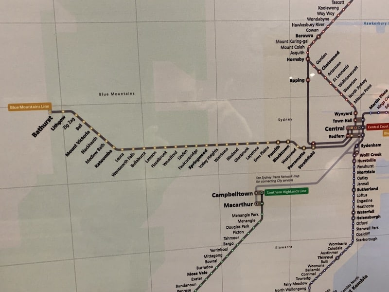Central Station to Katoomba Route