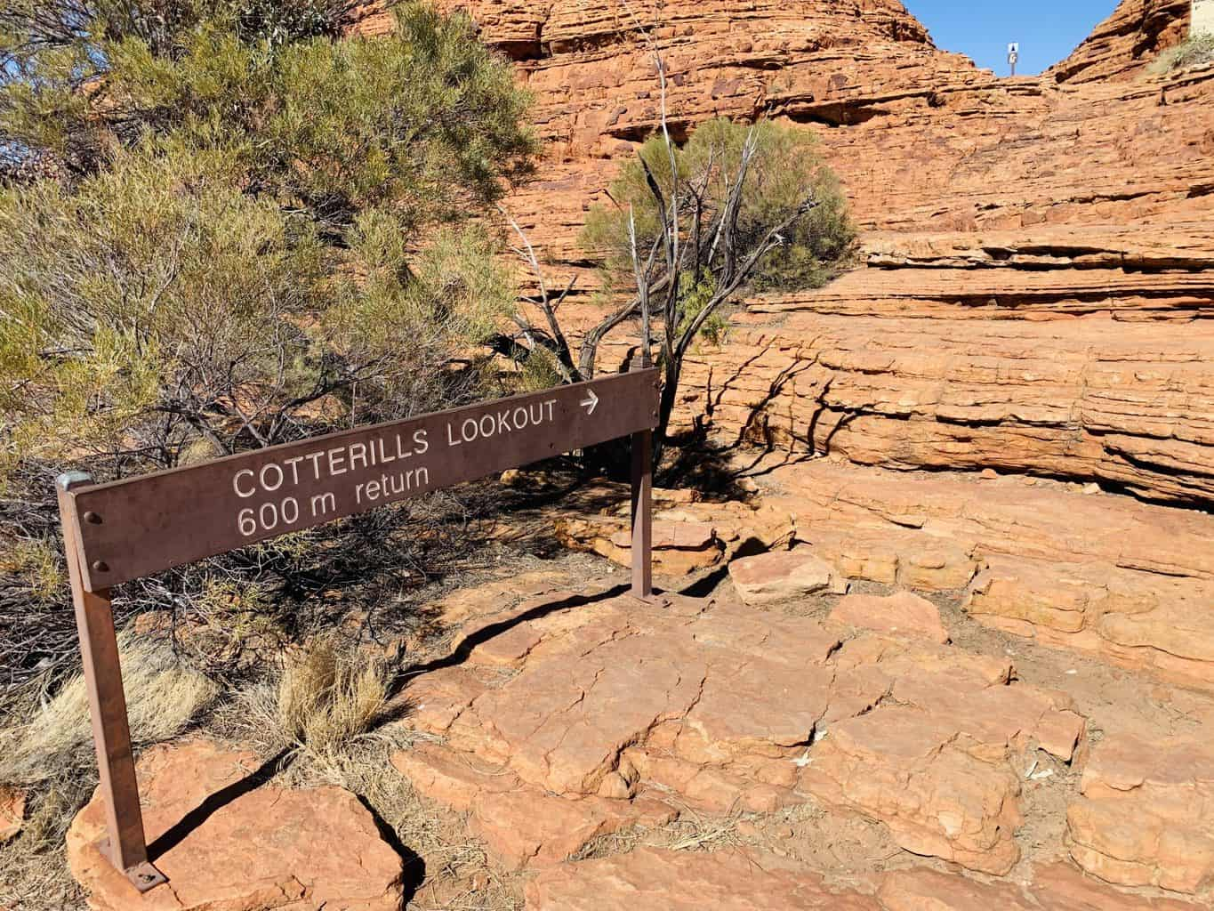 Cotterills Lookout Sign