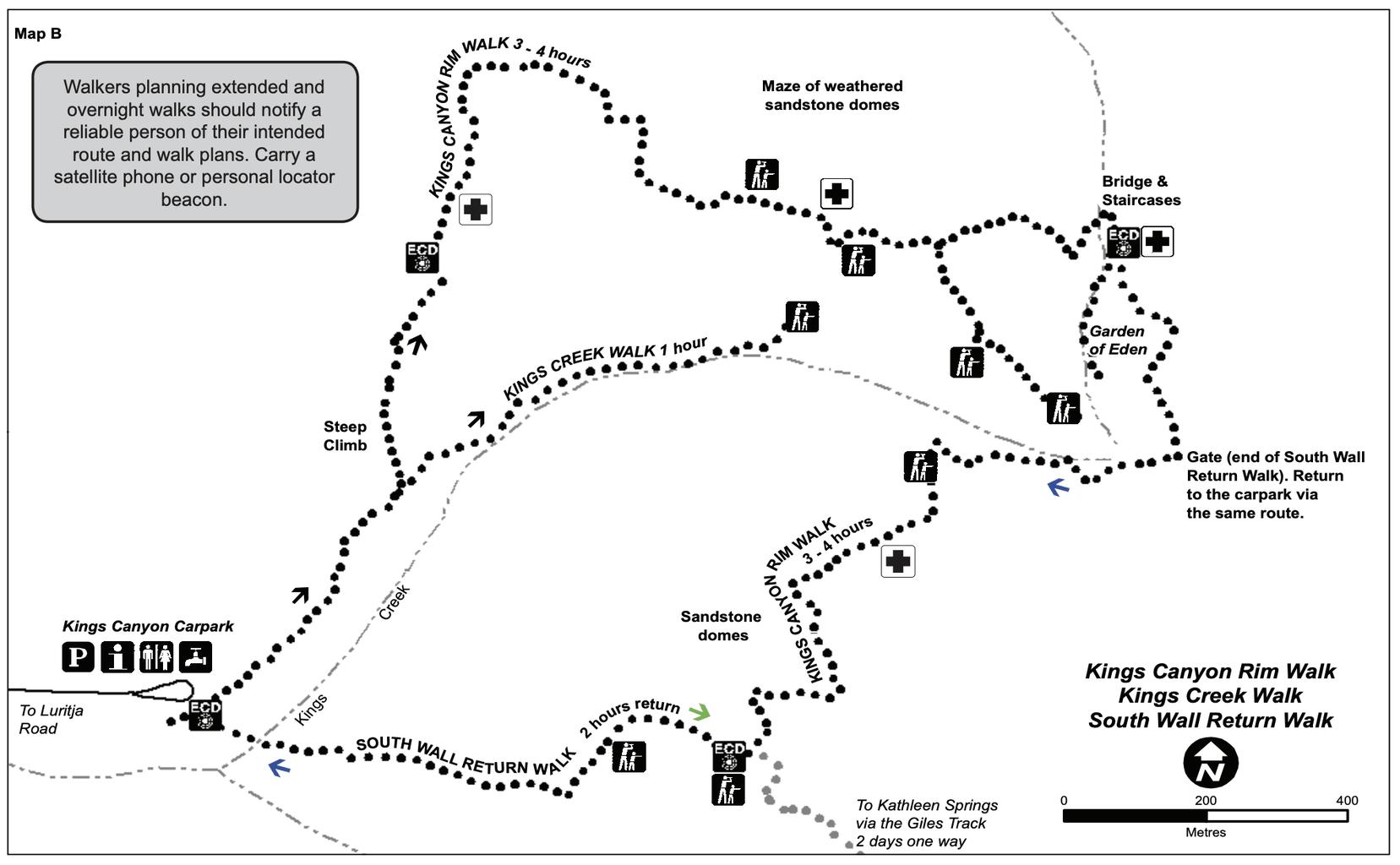Kings Canyon Rim Walk Map