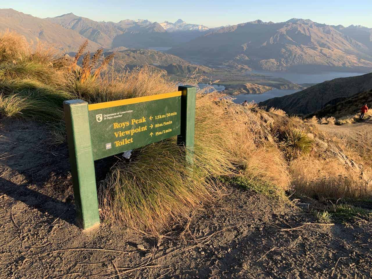 Roys Peak Viewpoint Sign