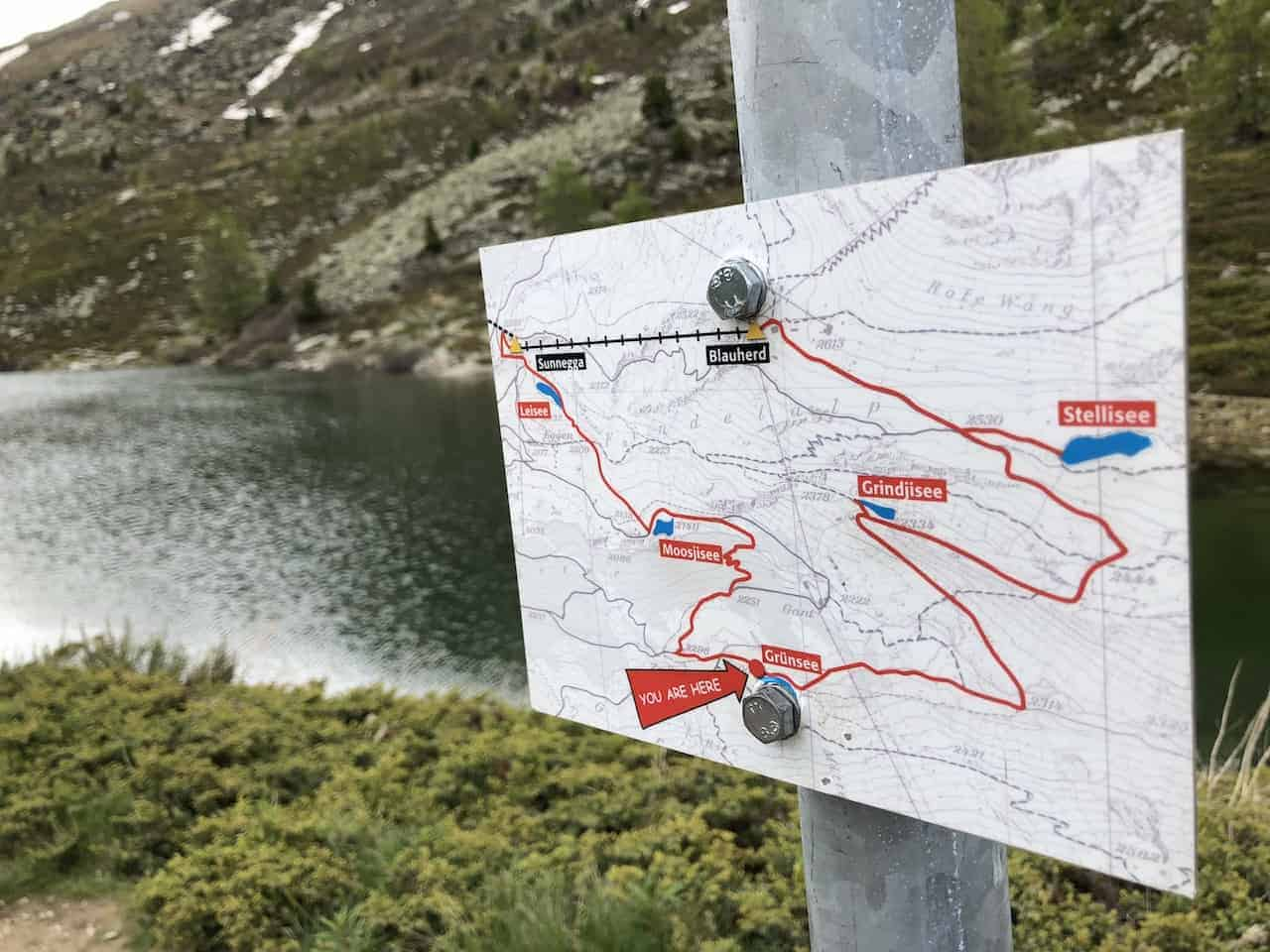 Five Lakes Hike Map
