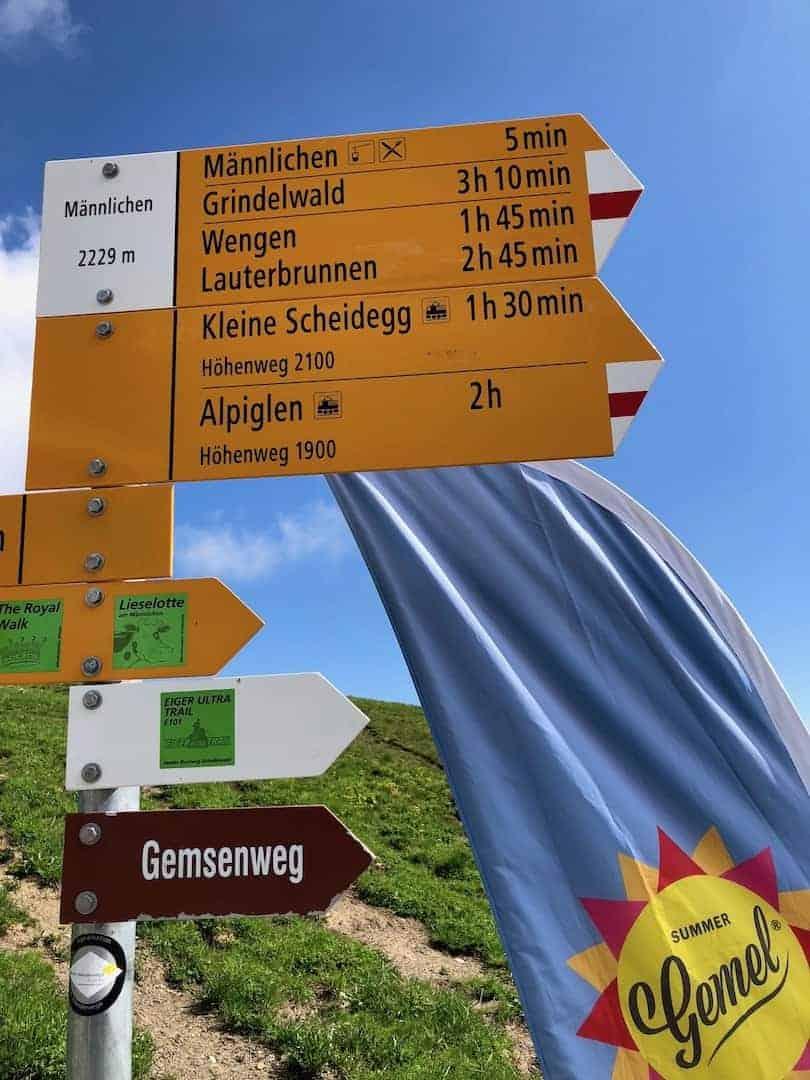 Mannlichen to Kleine Scheidegg Signs