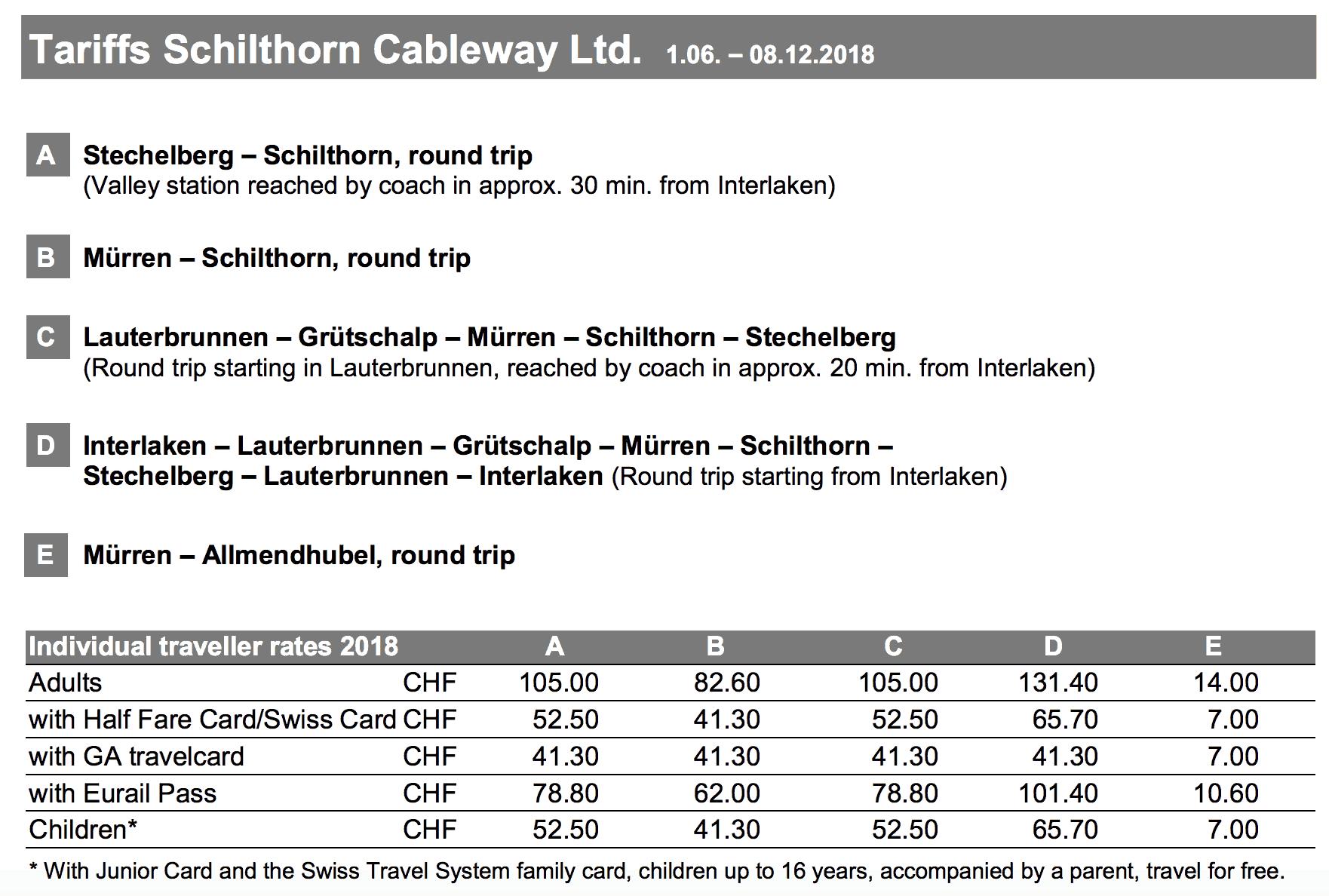 Schilthorn Prices