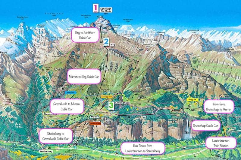 Schilthorn Transportation Map