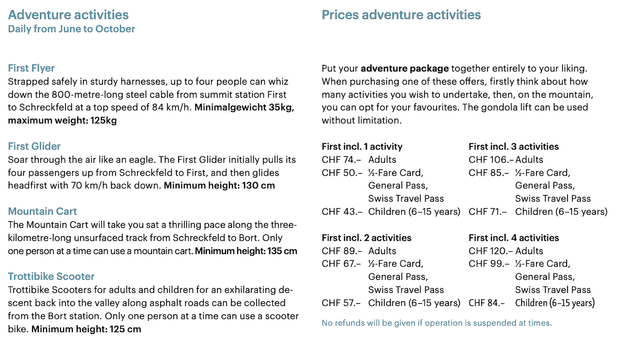 First Activities Price List