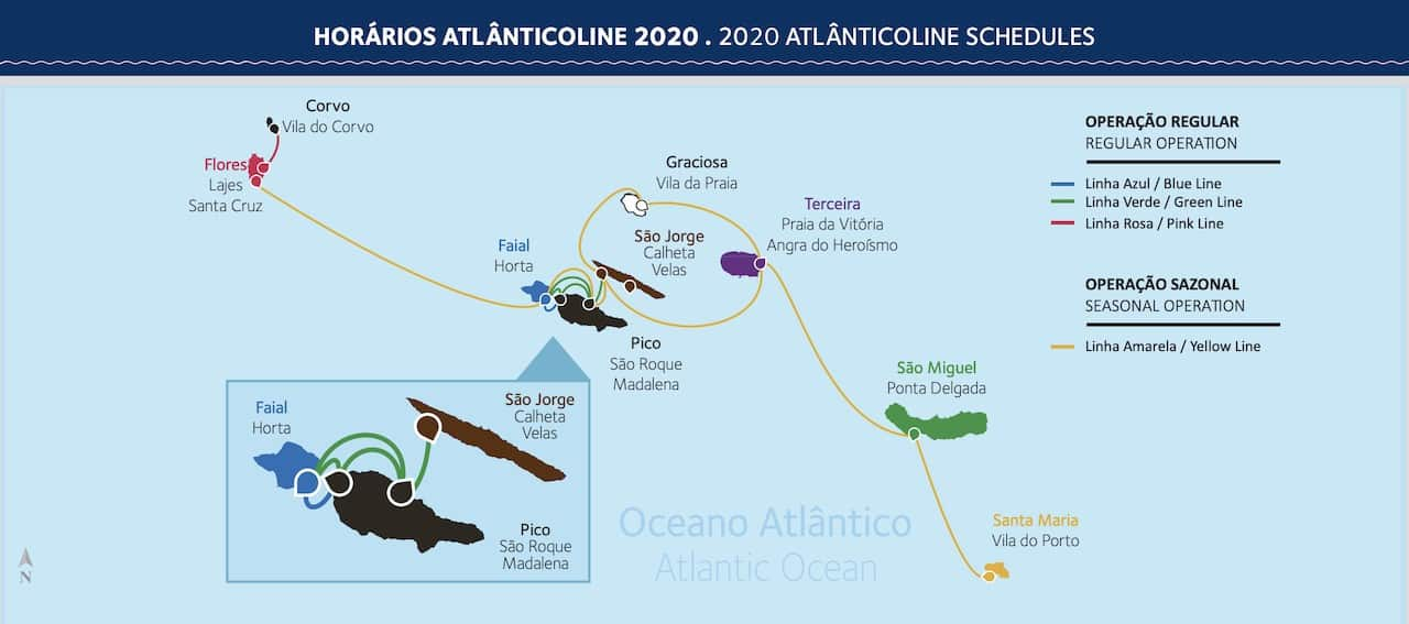 Atlanticoline Azores Ferry Map 2020