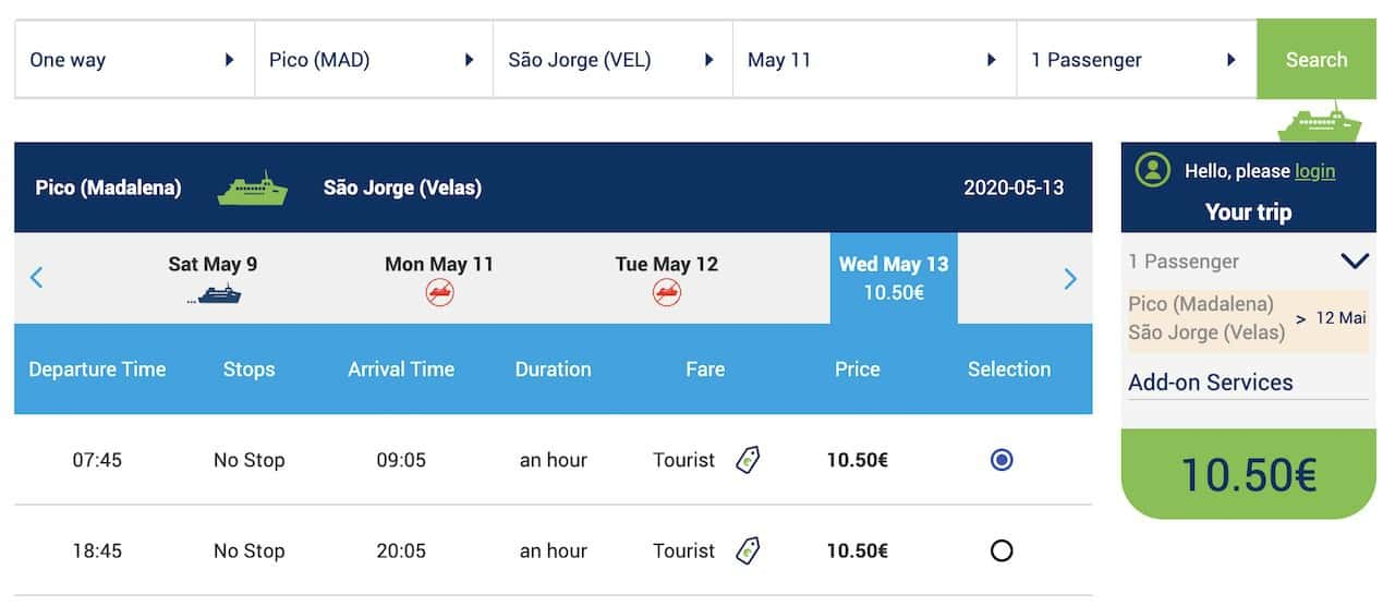 Azores Ferry Purchase Tickets