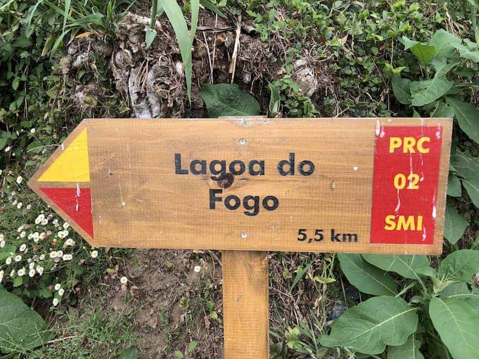Lagoa do Fogo Hike Sign