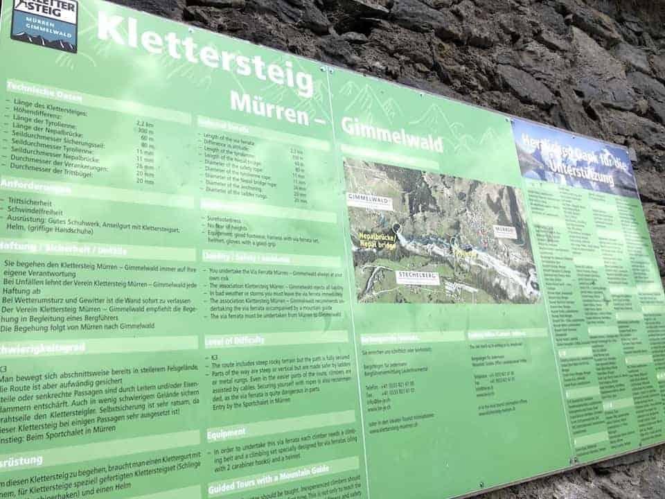 Klettersteig Murren Gimmelwald Map
