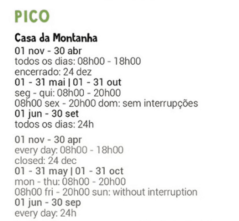 Mount Pico Opening Hours