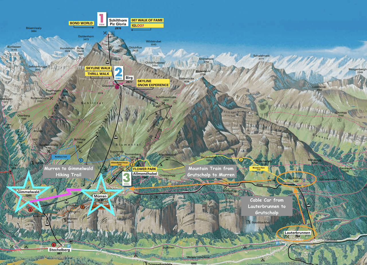 Murren to Gimmeldwald Map
