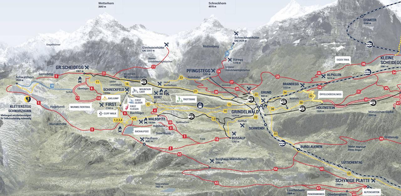 Grindewald Hiking Map