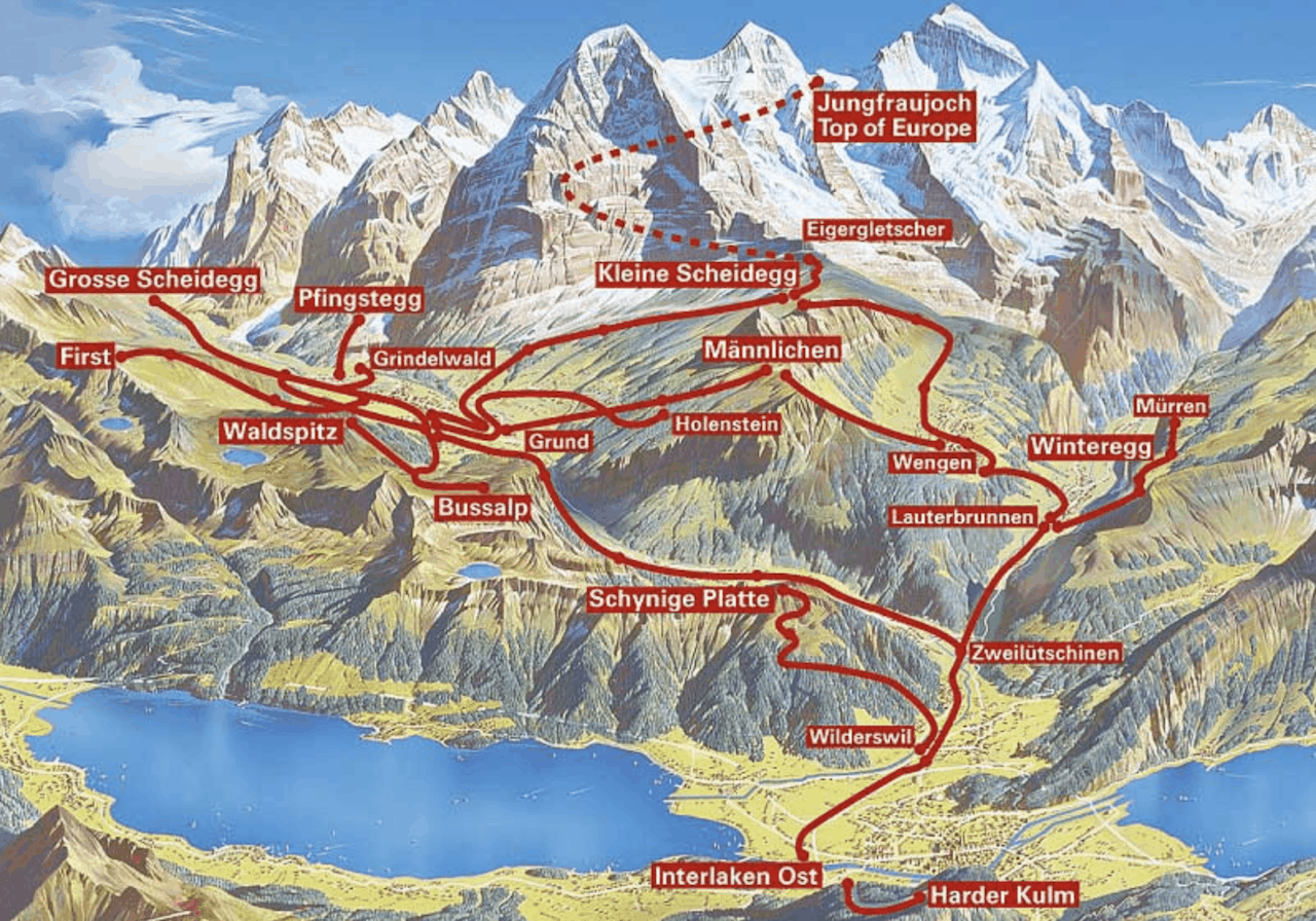 Map of Jungfrau Region