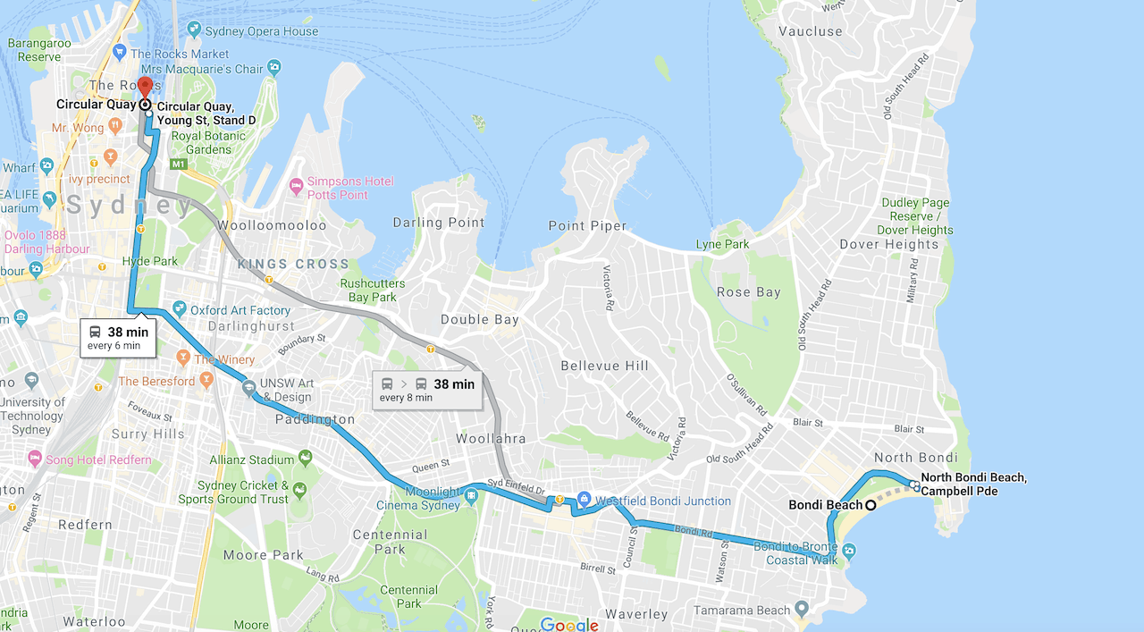 Bondi Beach to Sydney Harbour
