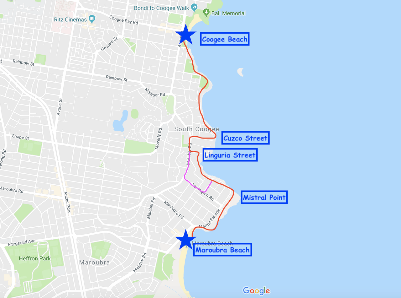 Coogee to Maroubra Map