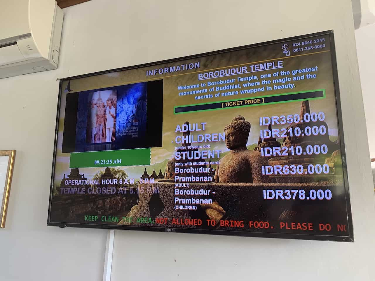 Borobudur Temple Prices and Hours