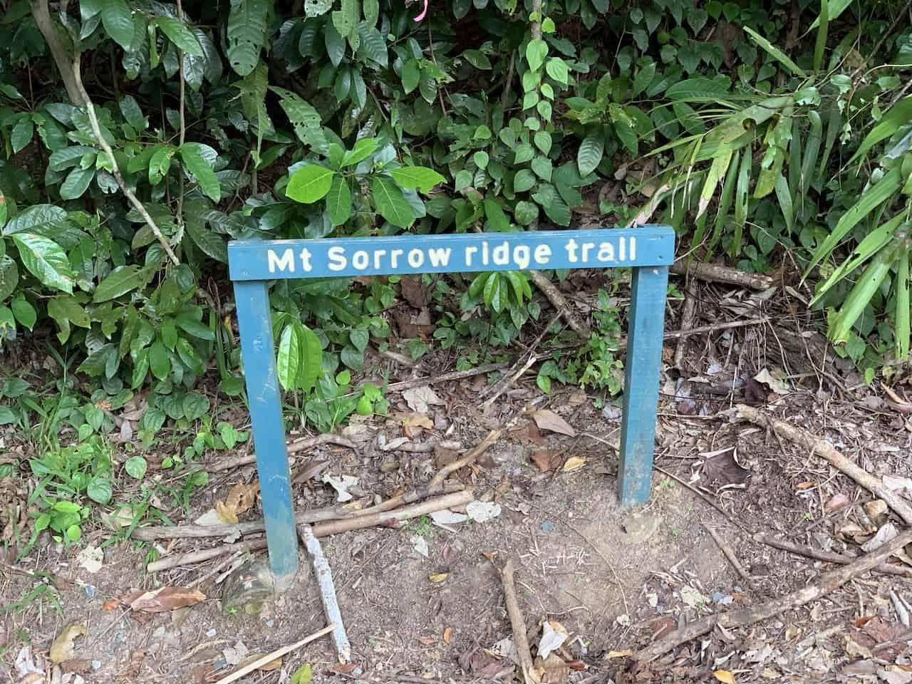 Mt Sorrow Ridge Trail Sign