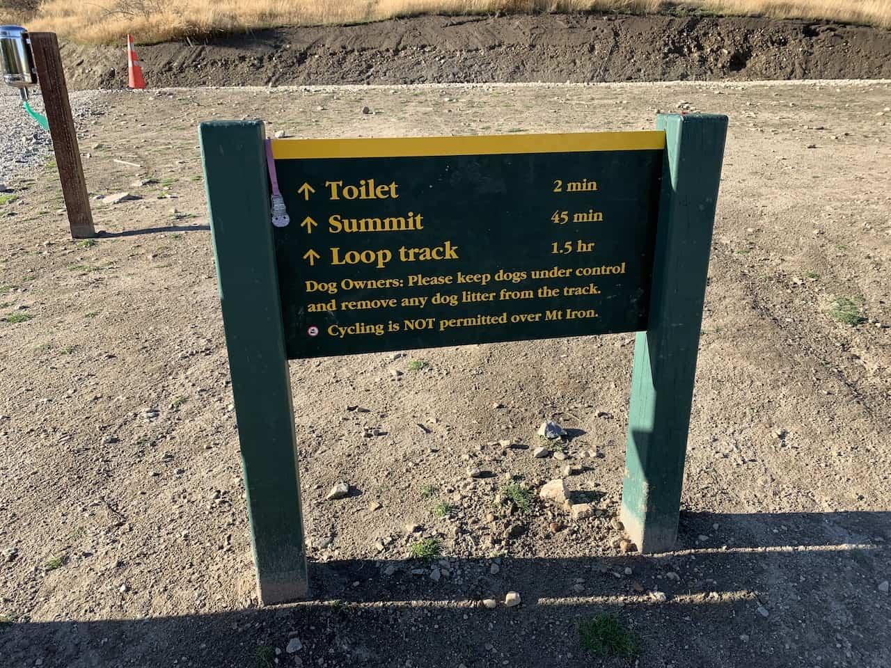 Mt Iron Track Sign