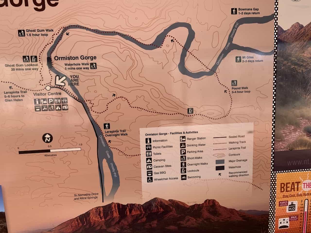Ormiston Gorge Map