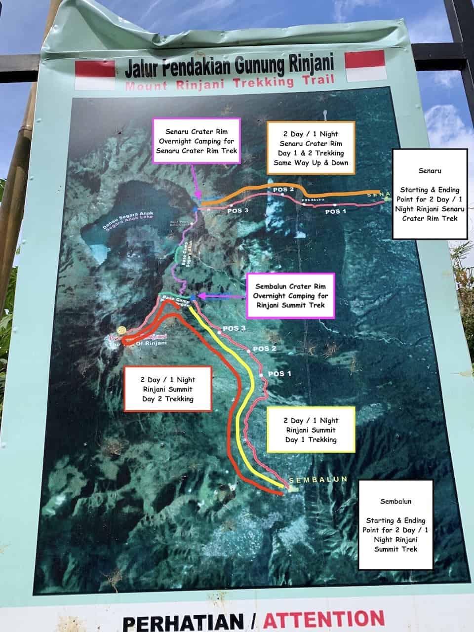 Mount Rinjani Hiking Map Routes