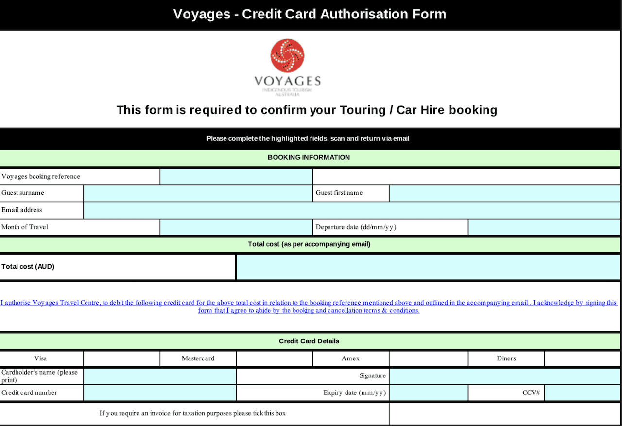 Voyages Confirmation Form