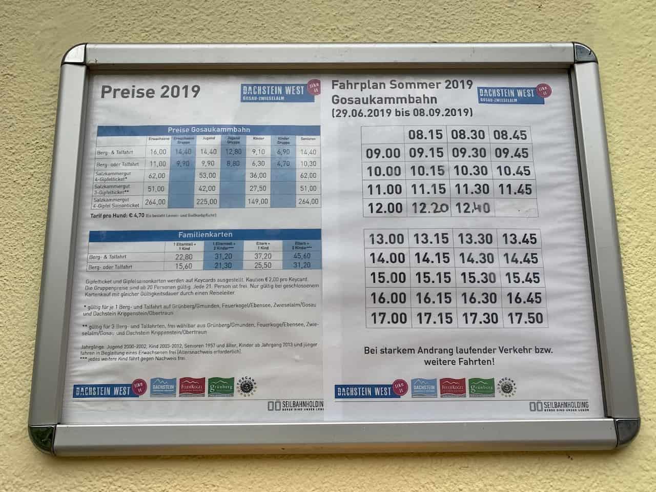 Gosaukammbahn Price List