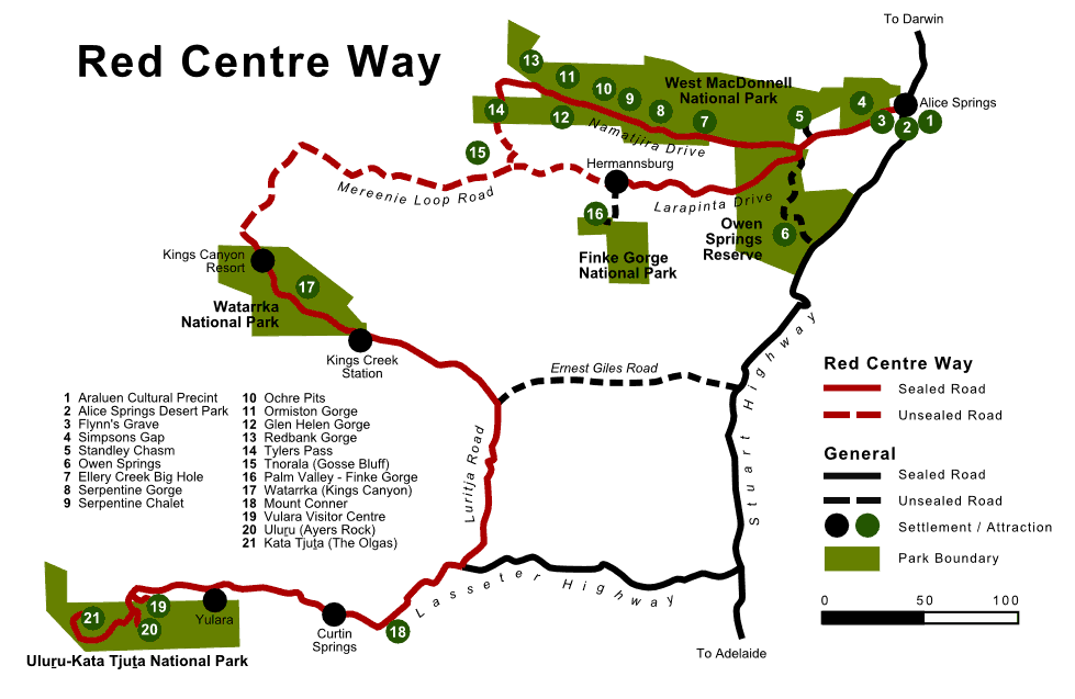 Red Centre Way Map