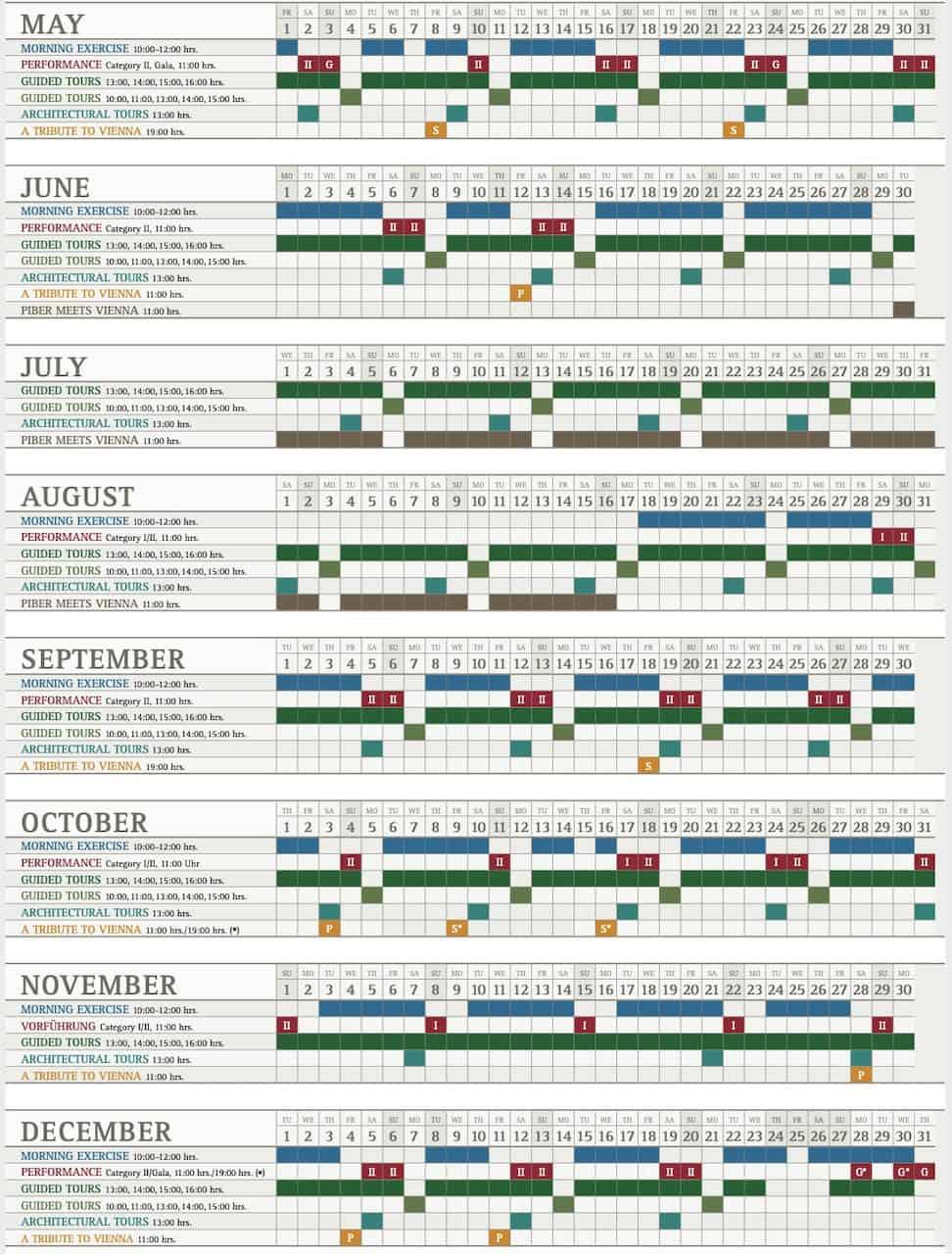 Spanish Riding School Schedule