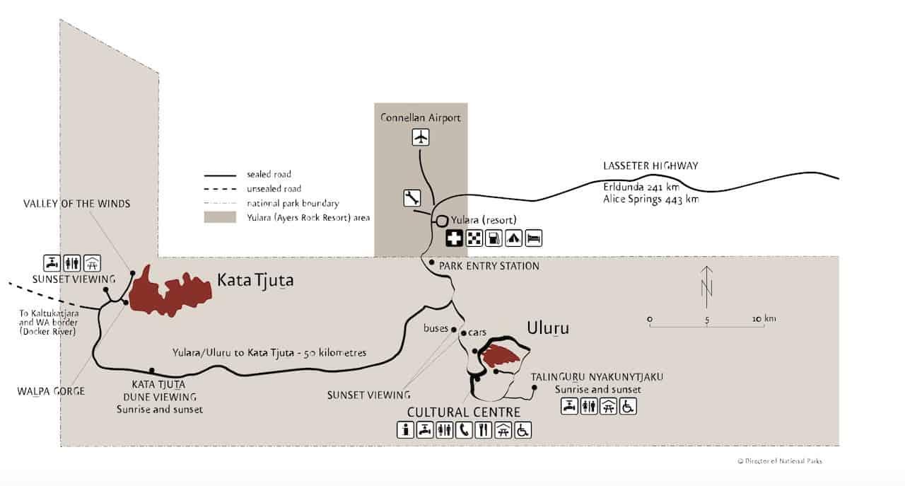 Uluru Kata Tjuta National Park Map