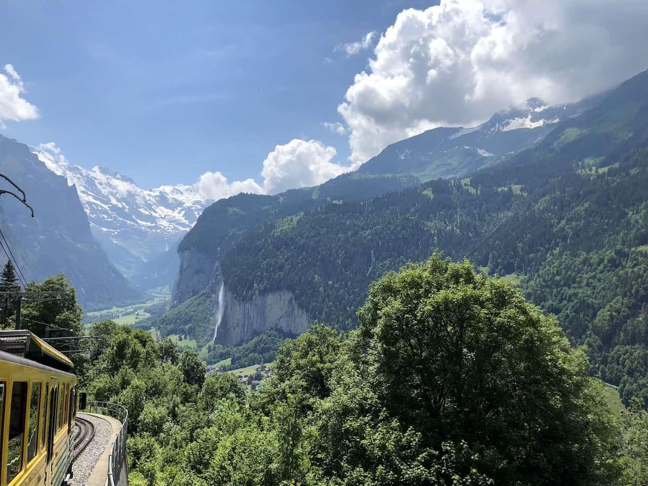 Wengen Train Lauterbrunnen Valley View