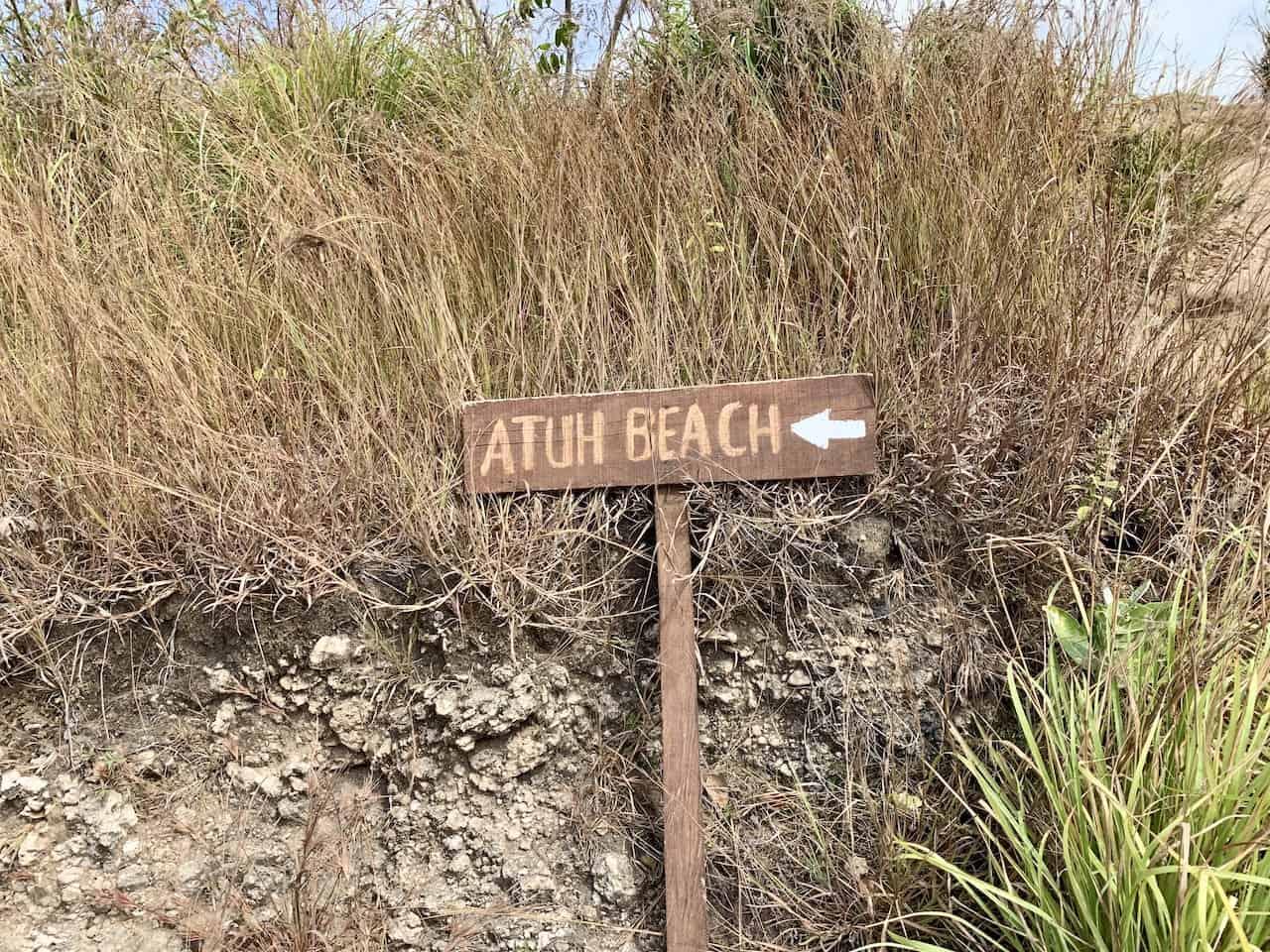 Atuh Beach Sign