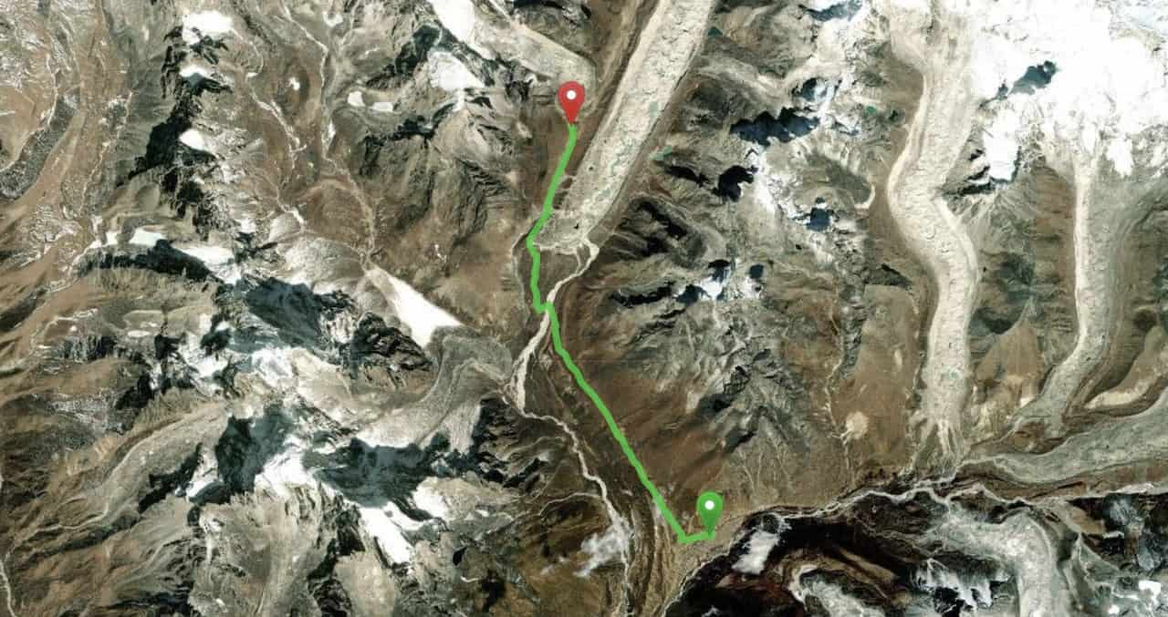 Dingboche to Lobuche Map