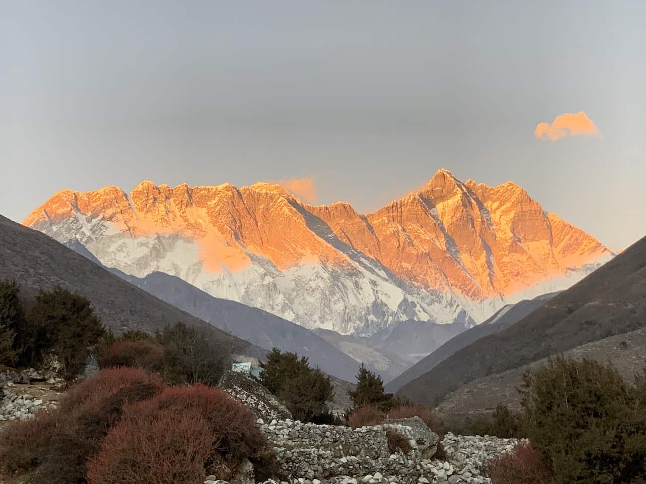 Everest Mountain Range Sunset Pangboche