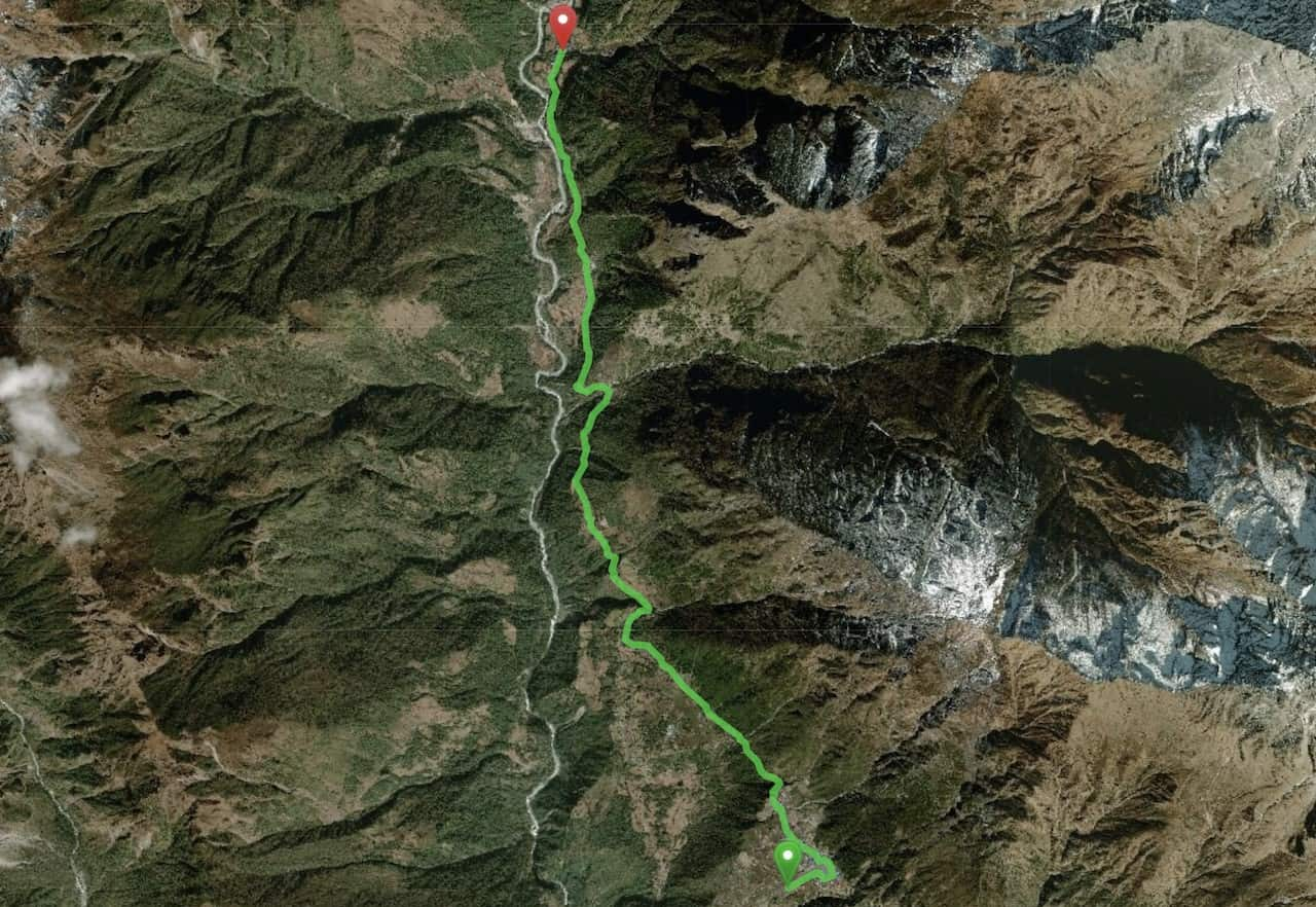 Lukla to Phakding Map