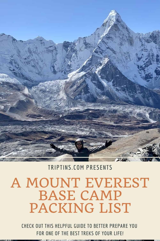 Mount Everest Base Camp Packing List