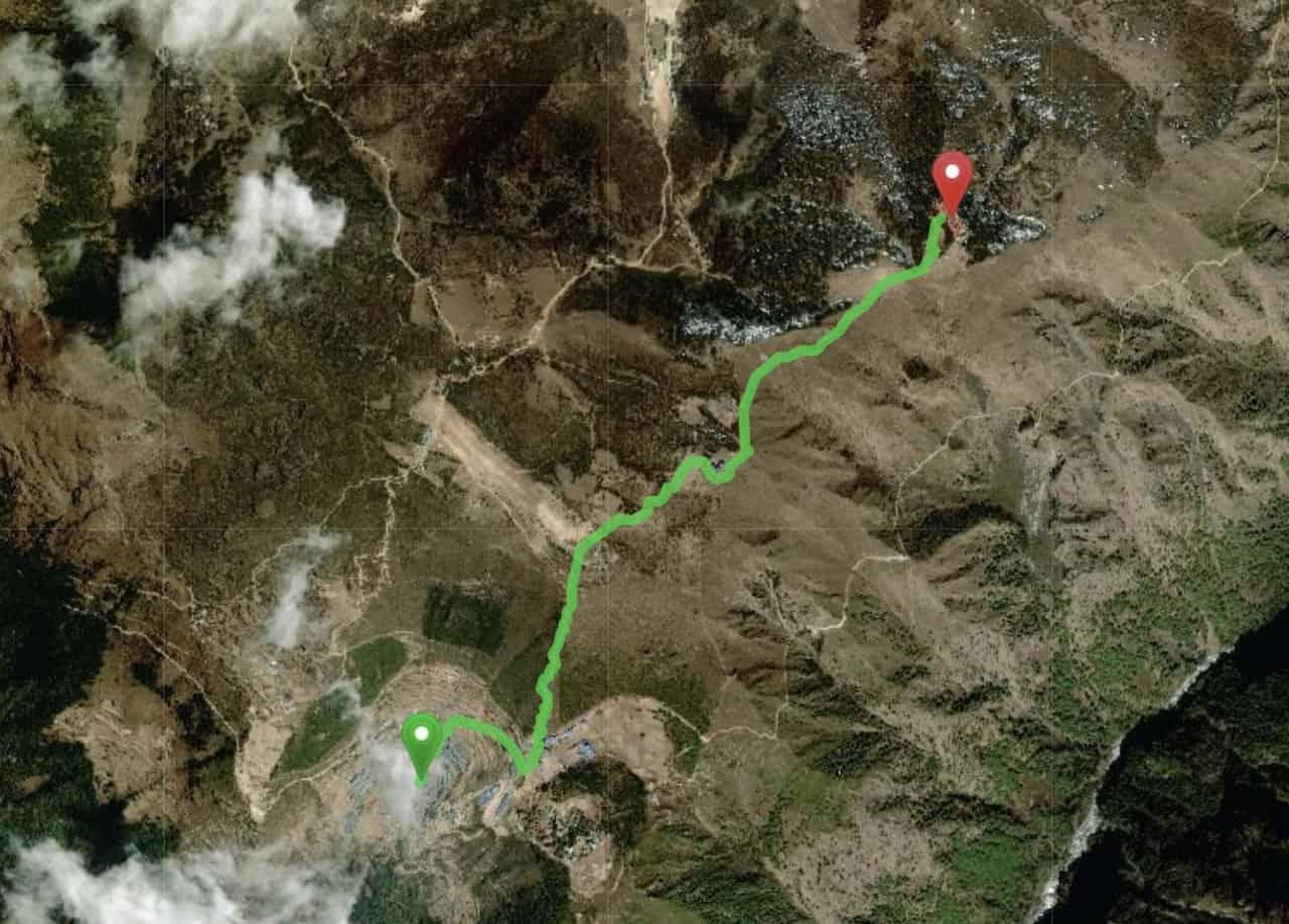 Namche Bazaar to Hotel Everest View Map