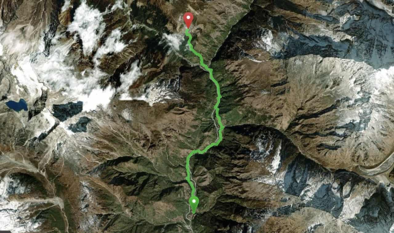Phakding to Namche Bazaar Map