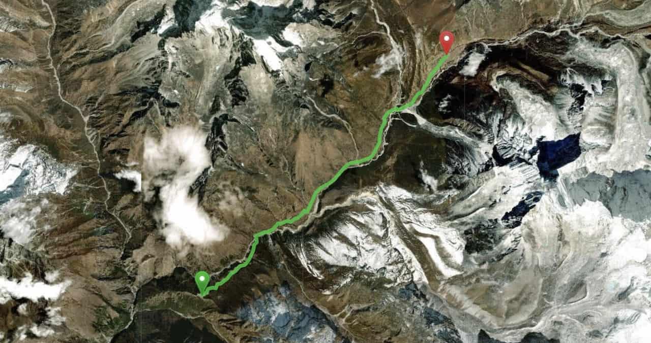 Tengboche to Dingboche Map