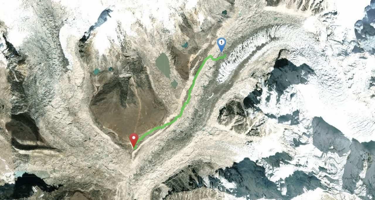 Gorak Shep to Everest Base Camp Map