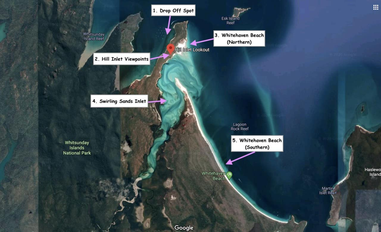 Hill Inlet Map Whitsundays