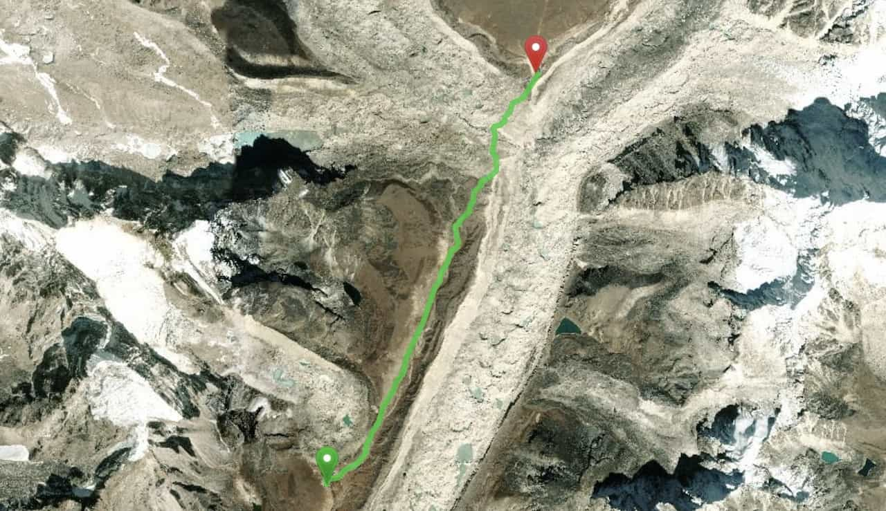 Lobuche to Gorak Shep Map