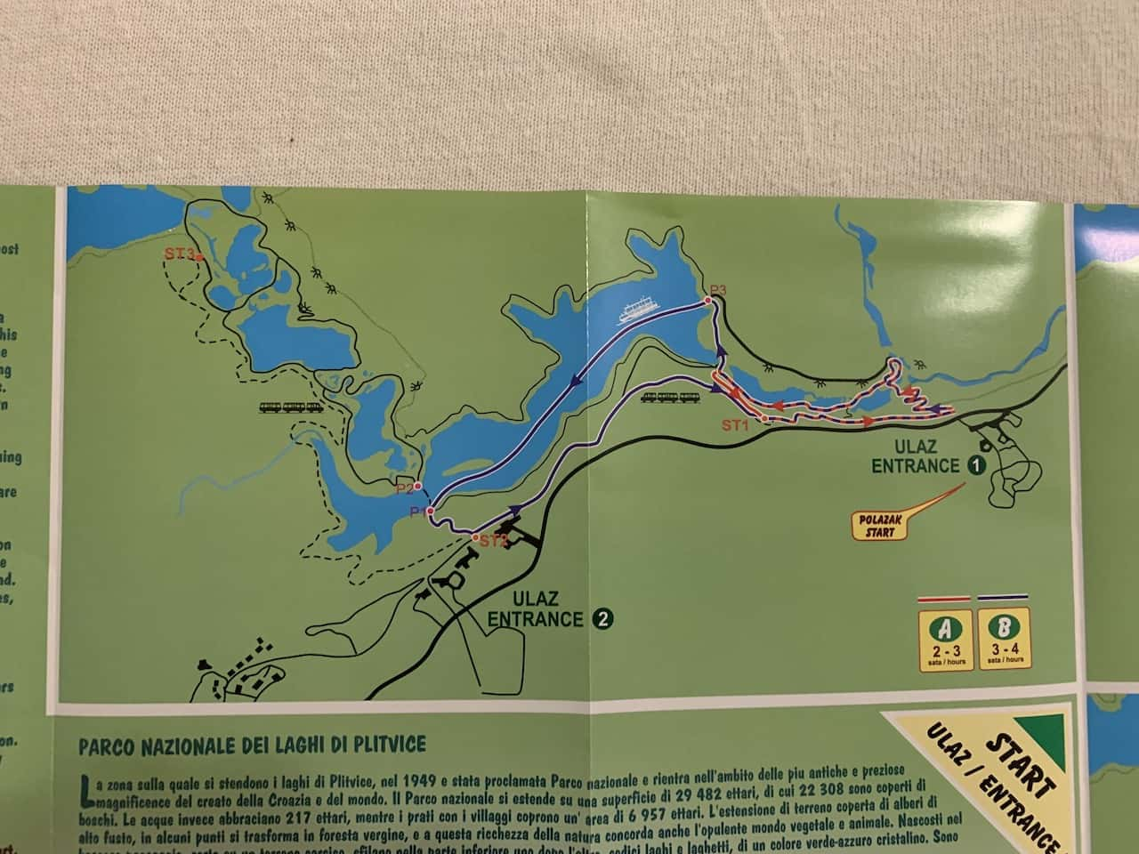 Plitvice Lakes Route A & B Map