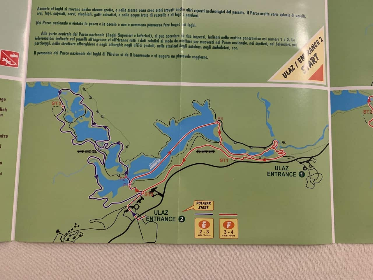 Plitvice Lakes Route E & F Map