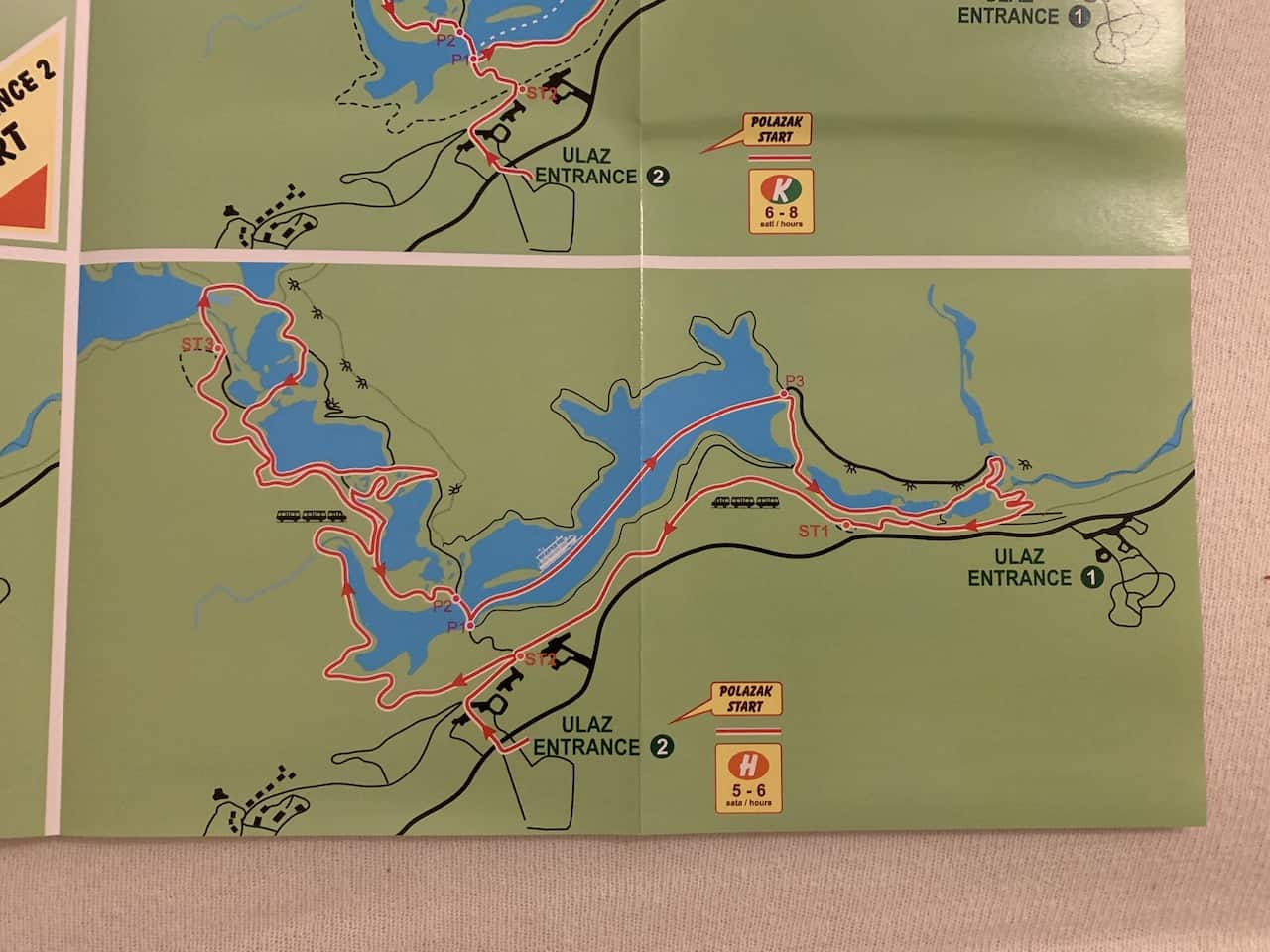 Plitvice Lakes Route H Map