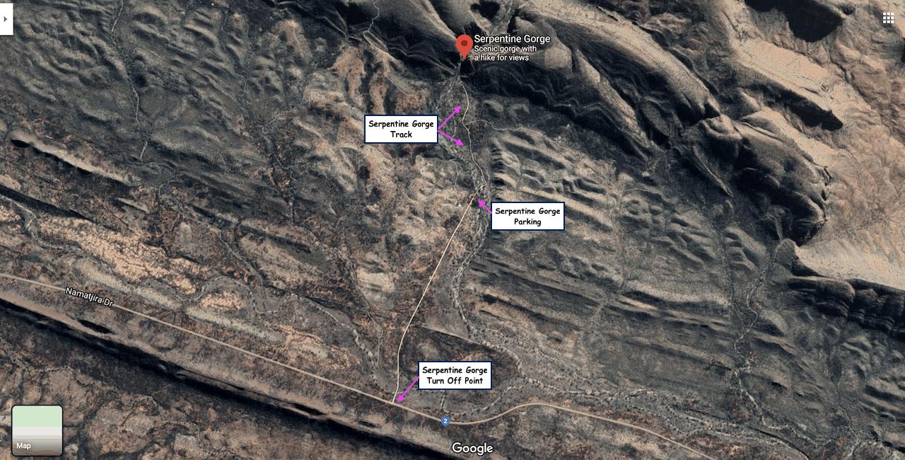 Serpentine Gorge Map