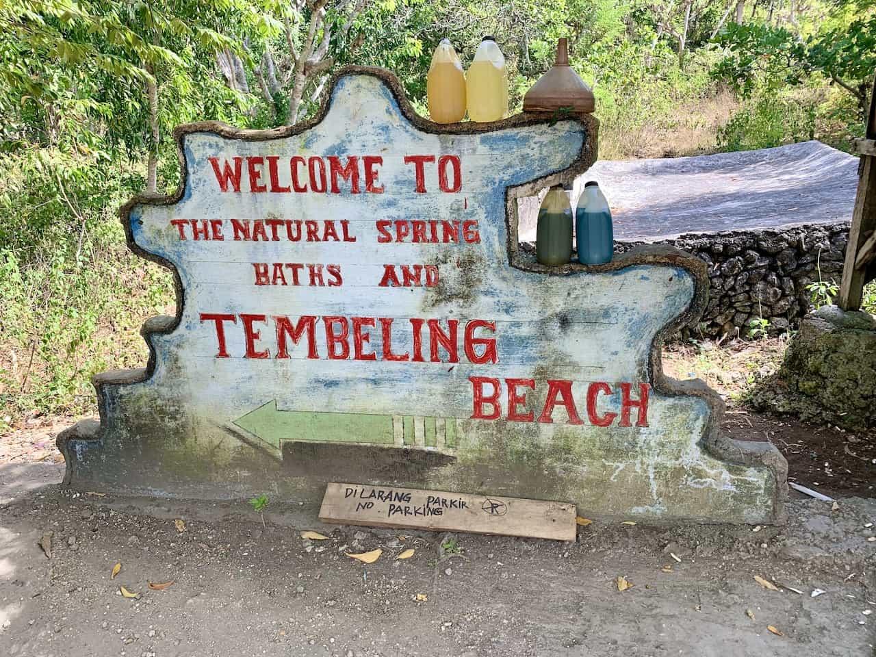 Tembeling Beach Sign