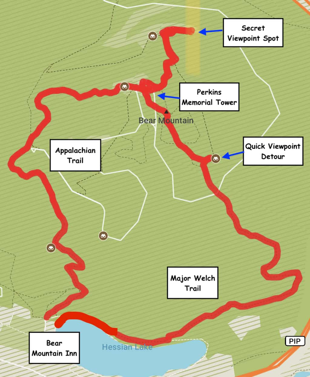 Bear Mountain Hike Map