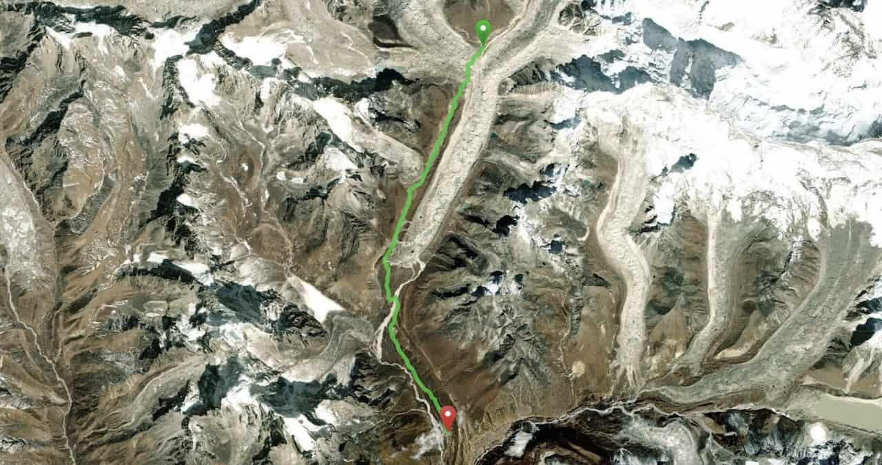 Gorak Shep to Pheriche Map