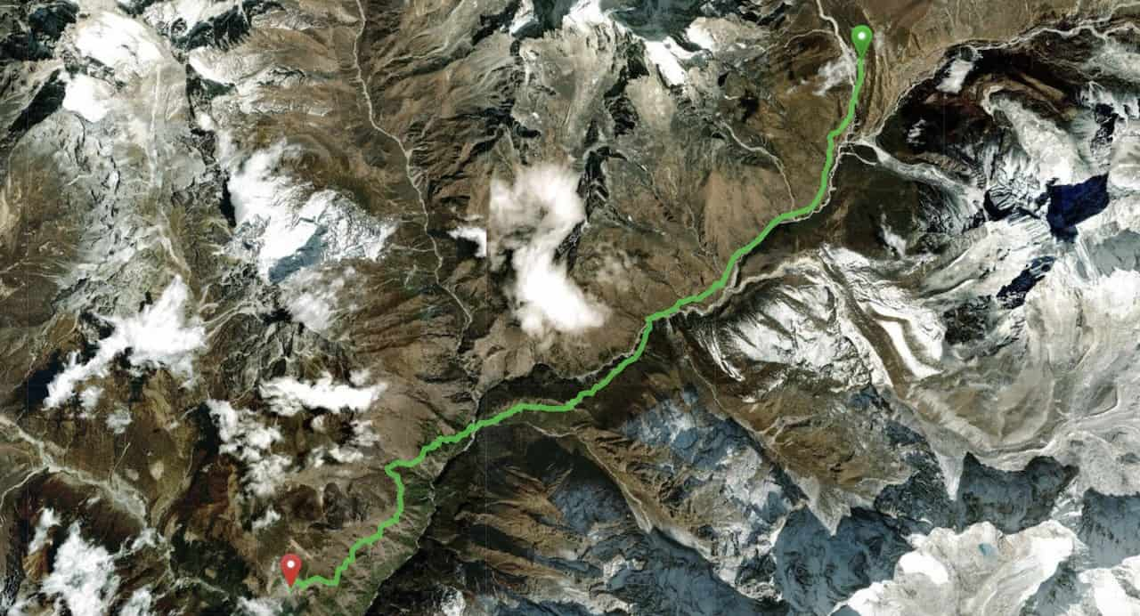 Pheriche to Namche Bazaar Map