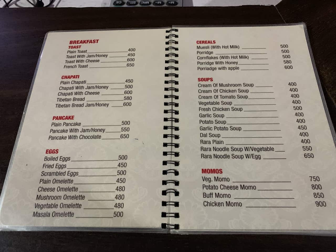 Everest Base Camp Menu